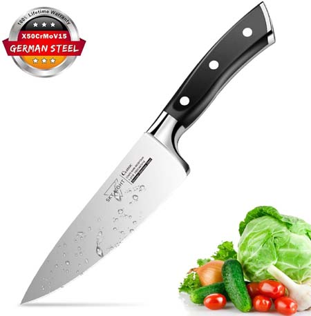 6 inch Pro Kitchen Knife Ultra Sharp Chef's Knife German High Carbon Stainless Steel Chef Cooking Knives with Ergonomic Handle