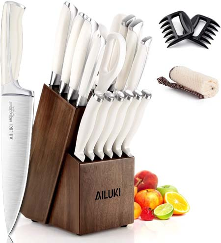 AILUKI 19 - Piece Kitchen Knife Set with Block Wooden and Sharpener