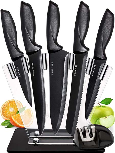 Chef Knife Set Knives Kitchen Set - Stainless Steel Kitchen Knives Set Kitchen Knife Set with Stand